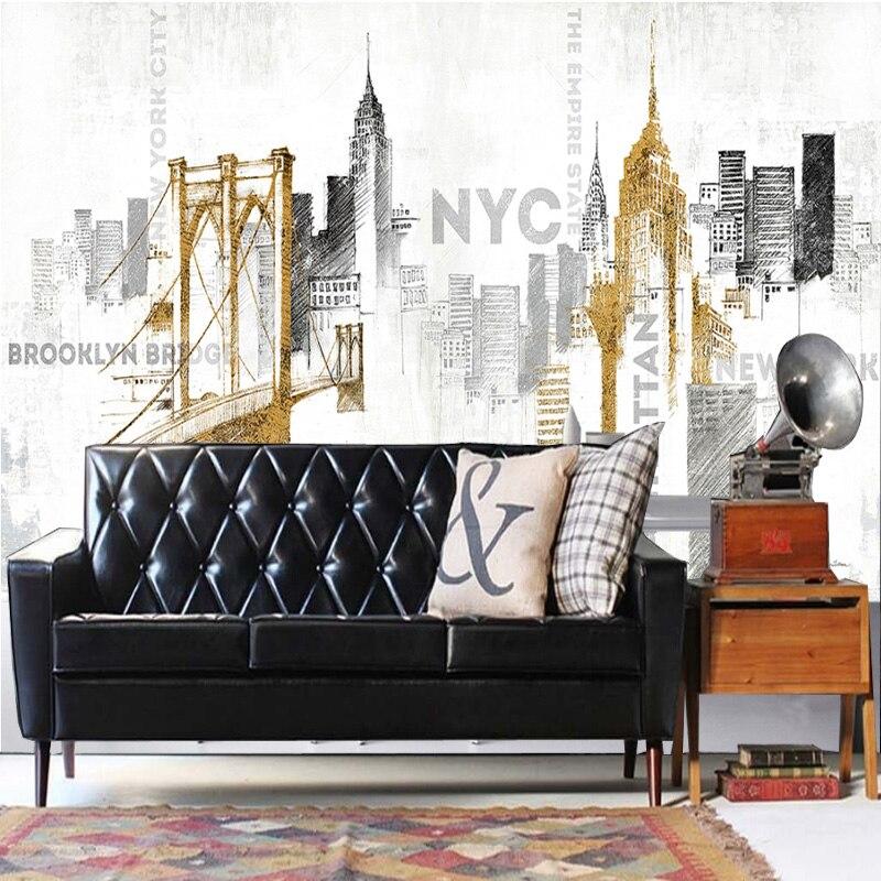 Фото Tuya Art  hand painting NYC Brooklyn 3D wallpaper mural on the wall for office living room meeting room decor free shipping