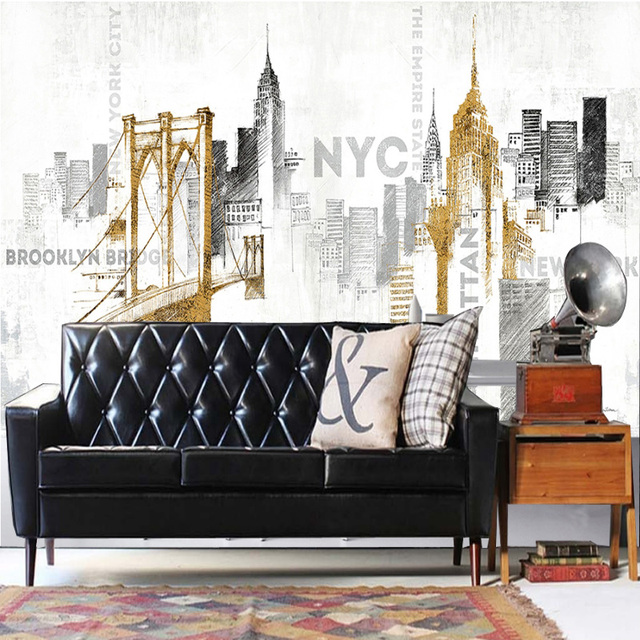 Tuya Art Hand Painting NYC Brooklyn 3D Wallpaper Mural On The Wall For Office Living Room