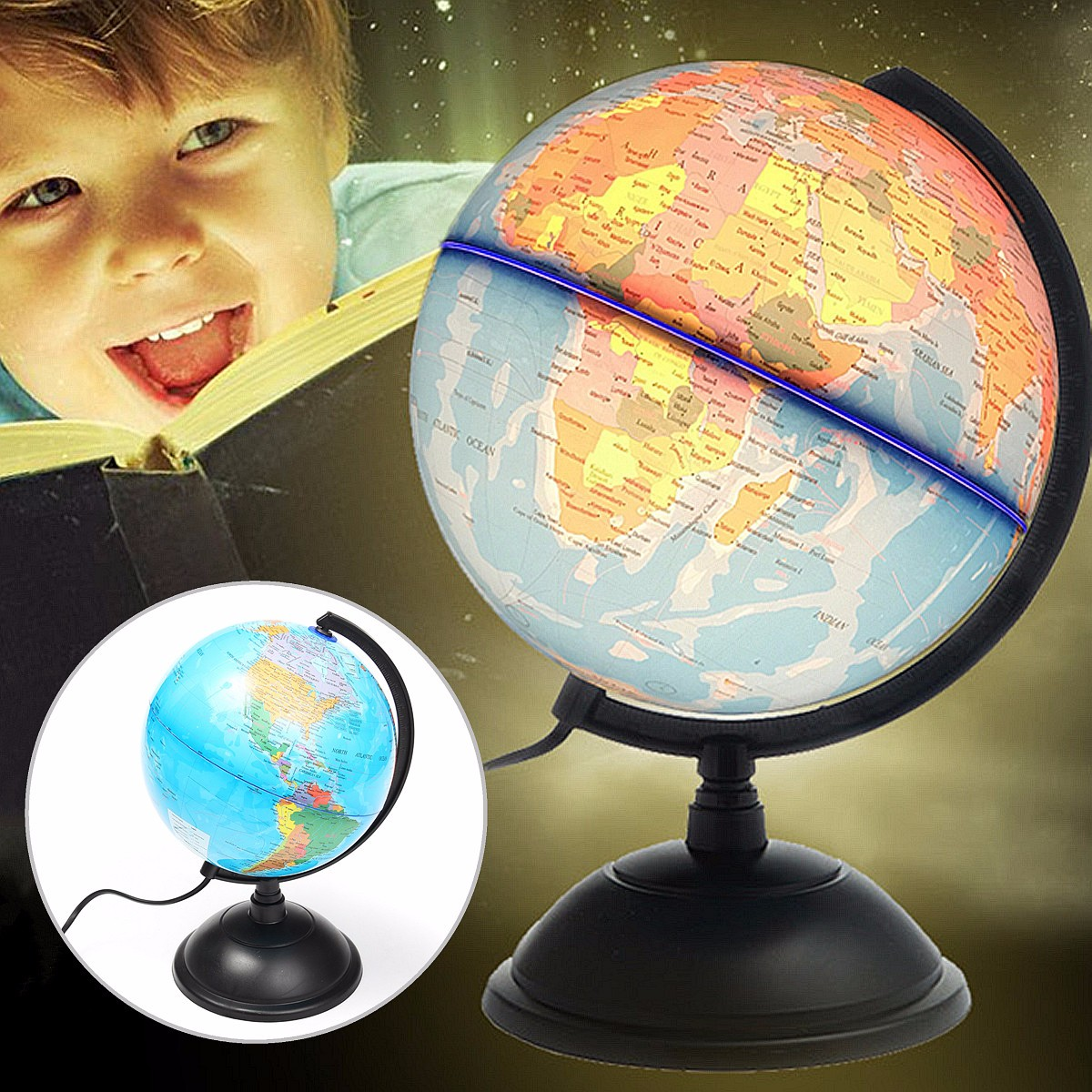 цена на Newest LED World Map World Globe Rotating Swivel Map of Earth Geography Educational Tool Birthday Gift Home Office Decoration