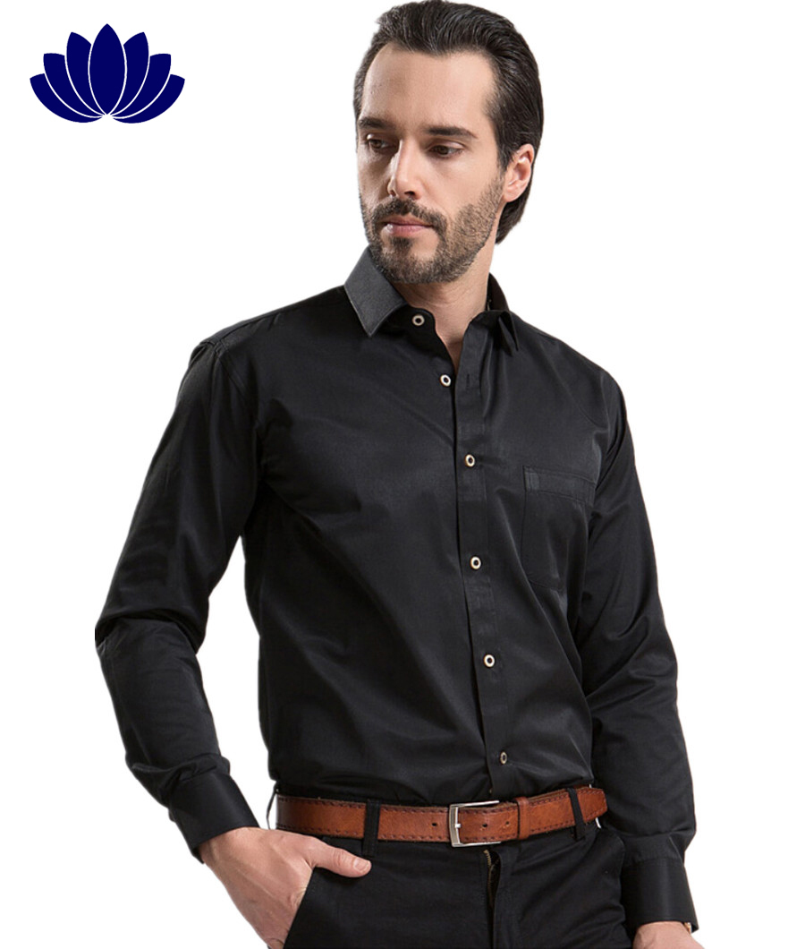 2015 Men Dress Shirts BlackLong SleeveSolid ColorFashion Turn Down Collar Single Breasted ...