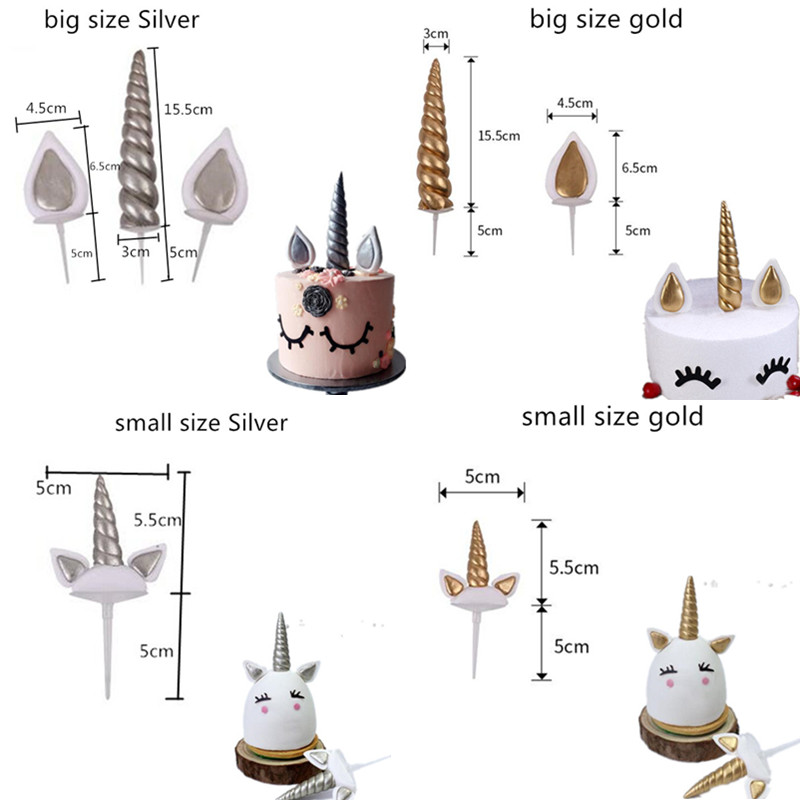 Image 5 - Hot Unicorn Cake Toppers Unicornio Horn Ears Cake Decorations Cupcake Toppers Baby Birthday Party Decorations Baking Tools-in Cake Decorating Supplies from Home & Garden