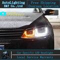 Стайлинга автомобилей Фары 2012 VW JETTA MK6 JETTA СВЕТОДИОДНЫЕ Фары angel глаз led JETTA GLI СИД drl H7 hid Би-Ксеноновые Линзы низкой луч