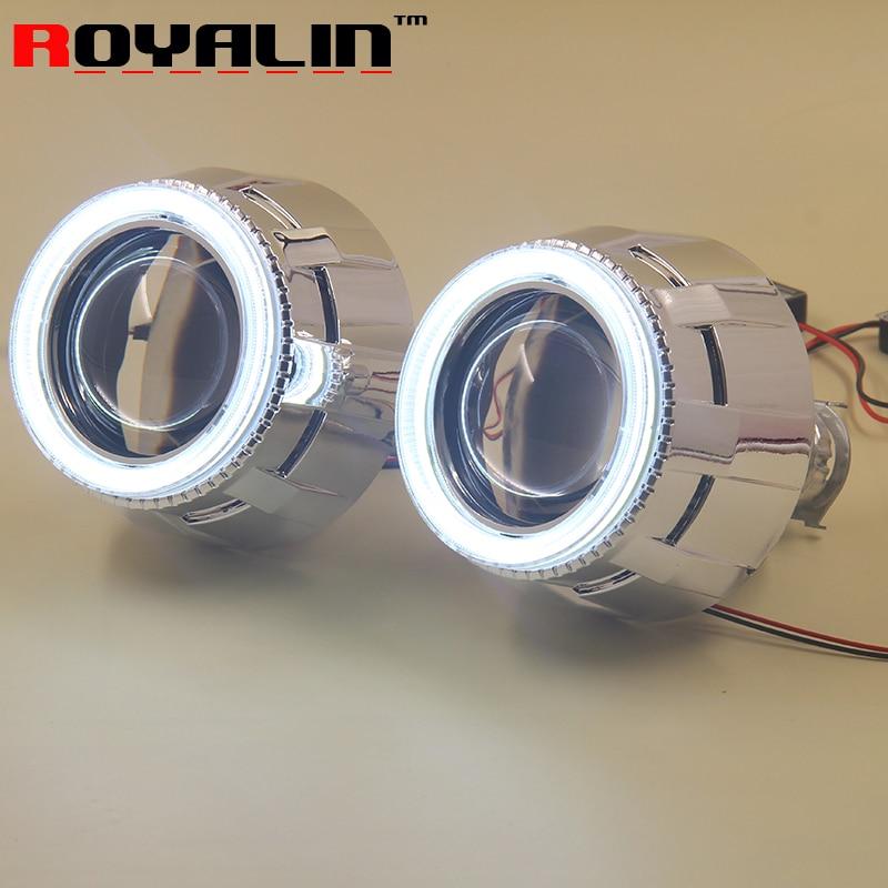 ФОТО 2.5 Daytime Running External Lights Lenses HID Bi Xenon H1 Projector Headlight Lens with White 80mm LEDs COB Angel Eye H4 H7 Car