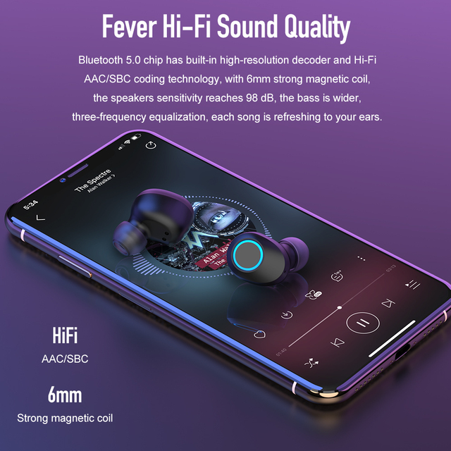 ROCK SPACE True Wireless Headphones Stereo Mini Bluetooth V5 0 HiFi Stereo  Sound Deep Bass Earphoens Gaming Headsets With Mic