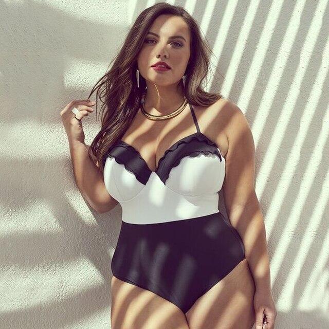 2018 Sexy Plus Size Swimwear Women One Piece Swimsuit Big Size Push Up Large Size Bathing Suit Summer Beachwear Ruffle Swimsuit