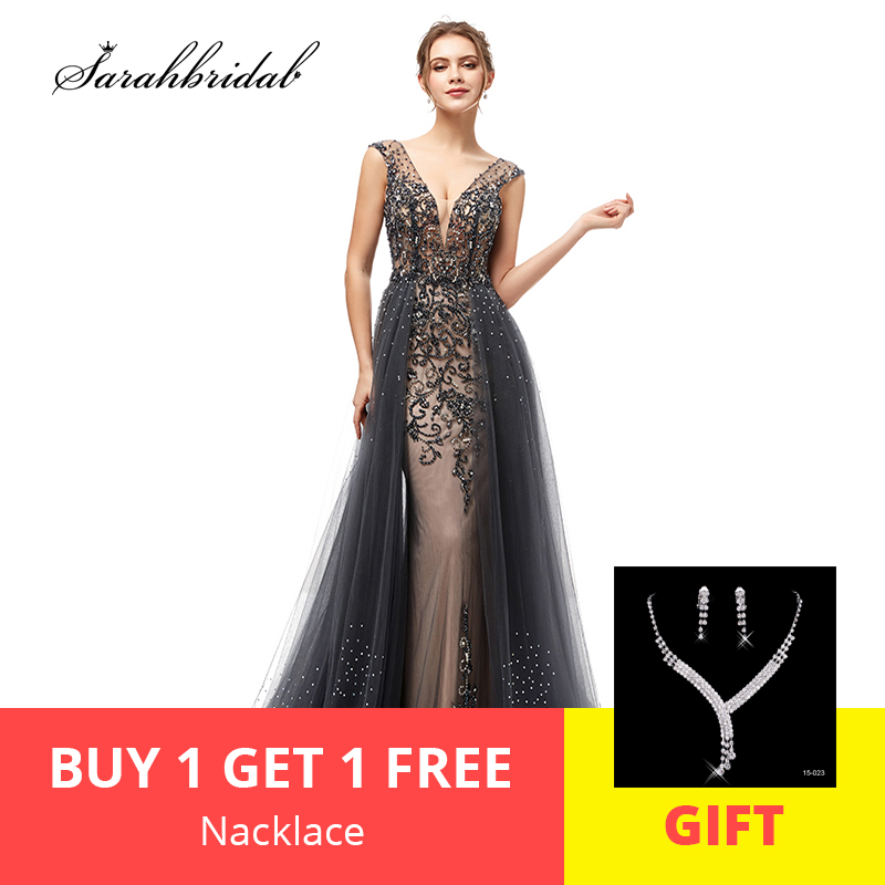 In Stock 2019 New Arrivals Elegant   Evening     Dresses   A Line Backless Tulle Floor Length Prom Party   Dresses   Robe De Soiree WT5406
