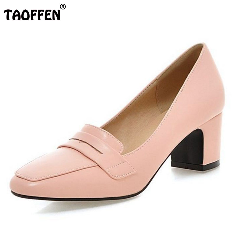 TAOFFEN women high heel shoes ladies spring summer autumn quality footwear fashion square toes pumps shoes size 33-43 P22440 new 2017 spring summer women shoes pointed toe high quality brand fashion womens flats ladies plus size 41 sweet flock t179
