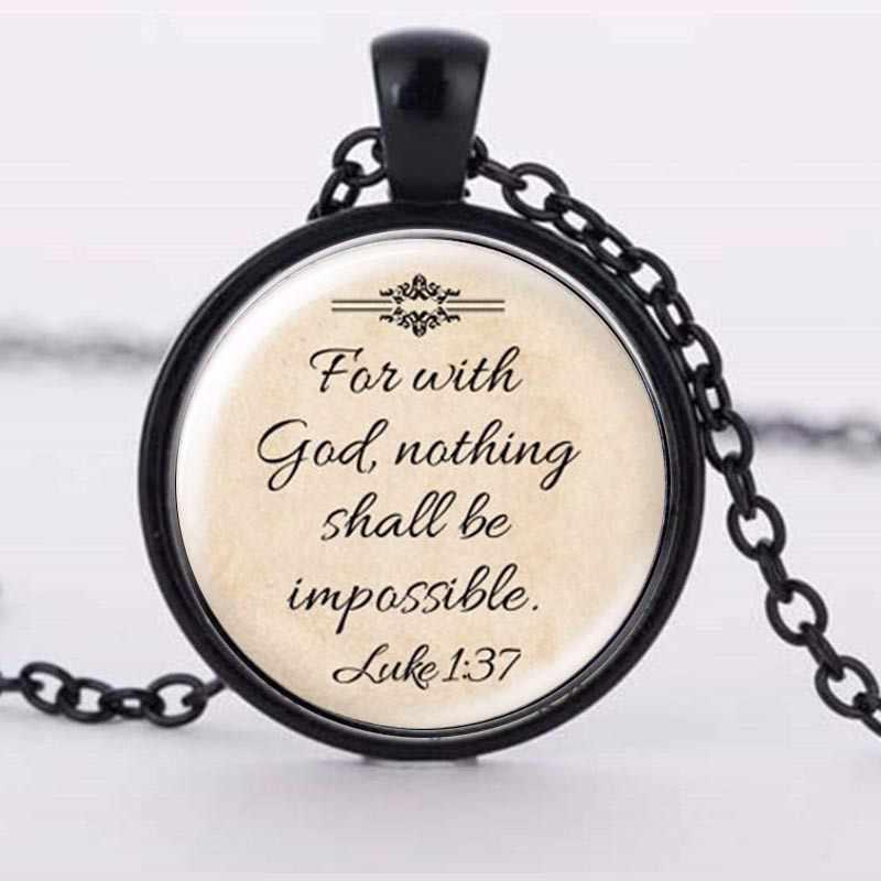 2018 أحدث تصميم يسوع قلادة 'الإيمان مع الله لا شيء ممكن' الكلمات قلادة اقتباس مجوهرات الزجاج القلائد المسيحية