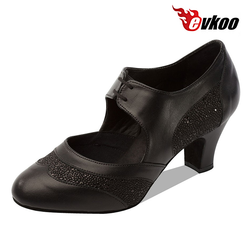 Evkoodance Black And Blue Shiny With Genuine Leather High Quality Shoes 5cm Low Heel Woman Ballroom Shoes Evkoo-058
