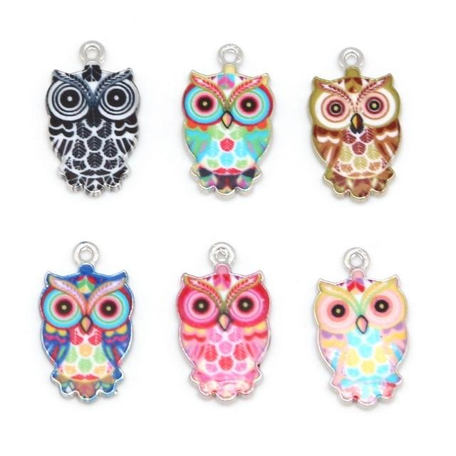13x23mm 2-6pcs Animals Owl Enamel Bracelet Necklace Charms Pendant For Jewelry M