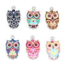 13x23mm 2-6pcs Animals Owl Enamel Bracelet Necklace Charms Pendant For Jewelry Making DIY Findings Women Men Hole 1.5mm(China)