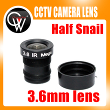 100pcs Half snail 3.6mm cctv lens mtv IR cctv camera m12 mount lens for security cctv camera