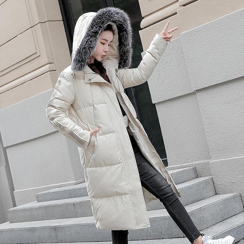 New Cotton Jacket Female 2019 Autumn Winter parkas Korean Long Warm Outerwear Coat Women Hooded Fur Collar Down Cotton Coat N733