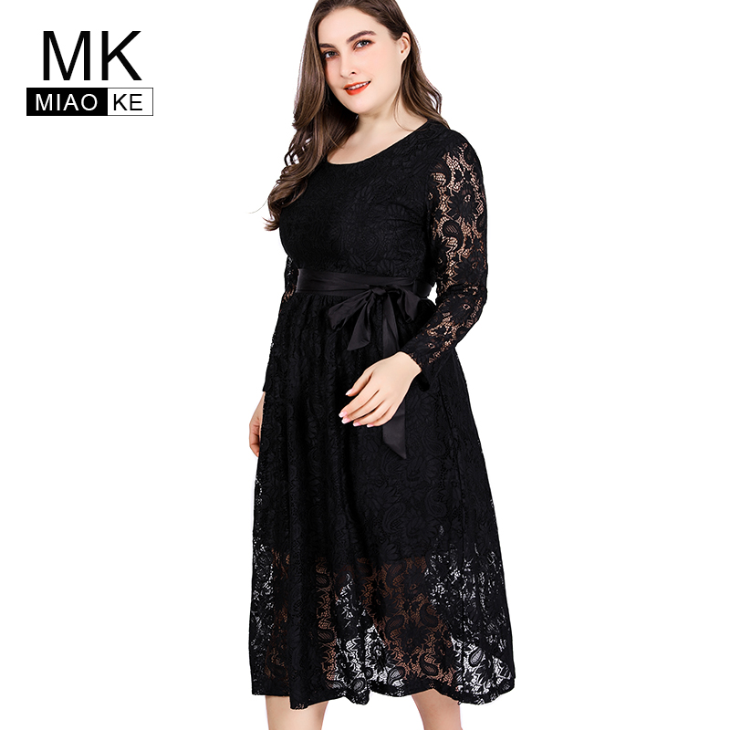 Miaoke Ladies Large Size Lace black Dress High Quality Clothing Fashion elegant Plus Size midi bandage party night sexy dresses