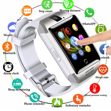 купить 2019 New Bluetooth Smart Watch Men Q18 With Touch Screen Big Battery Support TF Sim Card Camera for Android Phone Smartwatch дешево