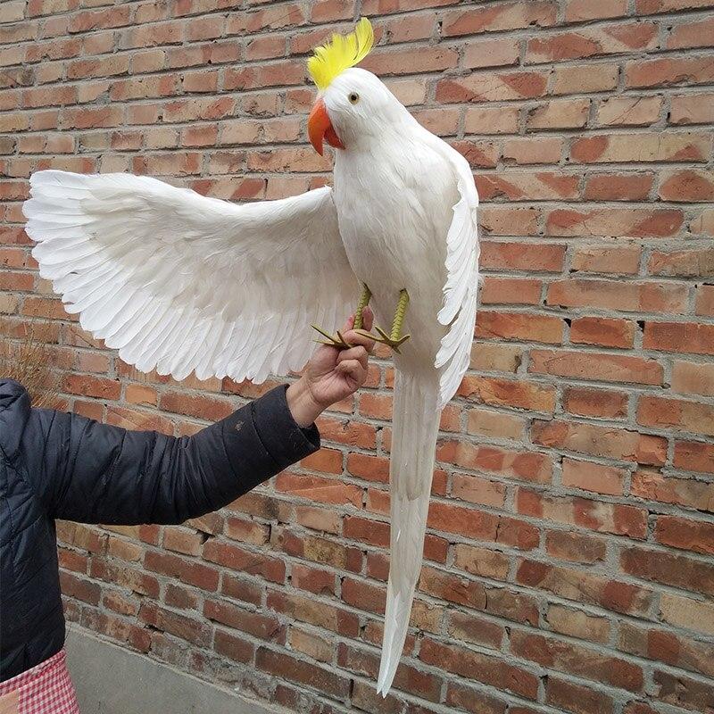 Vraie vie oiseau plumes bonjour 'ailes perroquet énorme 100 cm blanc cockatoo perroquet maison jardin décoration partie prop jouet cadeau h1460