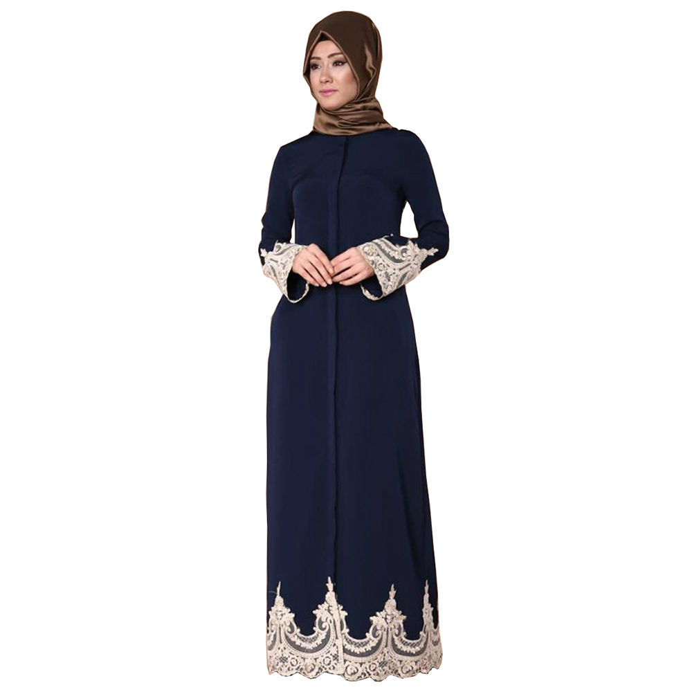 Adult Muslim Fashion Lace Embroidery Long Flare Sleeve ...