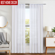 Elka Linen Modern Tulle Curtains for Living Room Bedroom Kitchen Window Voile Sheer Finished Curtain Binds Drapes