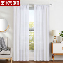 Elka Linen Modern Tulle Curtains for Living Room Bedroom Kitchen Window Voile Sheer Finished Curtain for Window Binds Drapes(China)