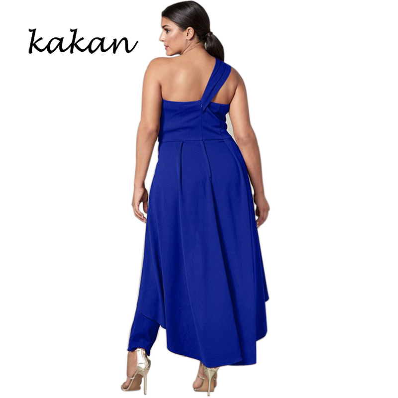 Kakan summer new women 39 s jumpsuit fashion slant shoulder wrapped chest jumpsuit big swing singular dinner wedding jumpsuit in Jumpsuits from Women 39 s Clothing