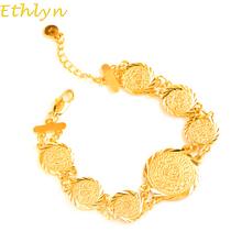 Ethlyn Islam Coin Bracelets For Women Trendy Gold Color Link Chain Bracelets  Dubai Gold Color Jewelry Wholesale B44B