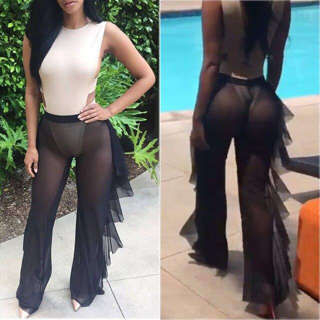 2b16fbbec9 Sexy Women Bikini Cover Up Mesh Sheer See-Through Plus Size Swimwear  Bathing Pants Trousers Swimsuit Beachwear Swimming Suit