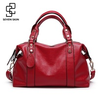 SEVEN SKIN Brand Women S Luxury Handbags Solid Pu Leather Women Shoulder Bag High Quality Ladies