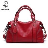 SEVEN SKIN Brand Women S Luxury Handbags Solid Pu Leather Women Shoulder Bag High Quality Ladies