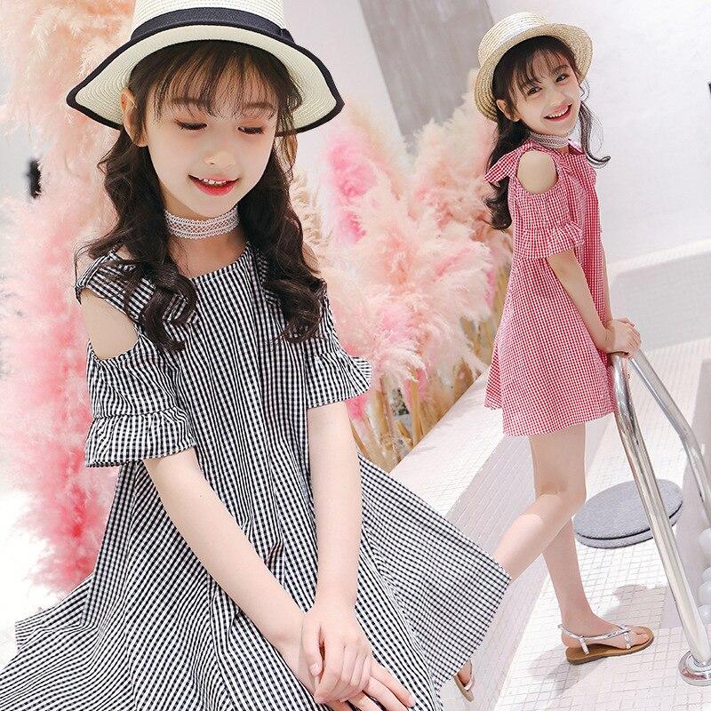 Children Strapless Girls Dress 2018 Summer New Pattern Flower Girl Party Kids Dresses For Lattice Dress Shoulder Princess Dress