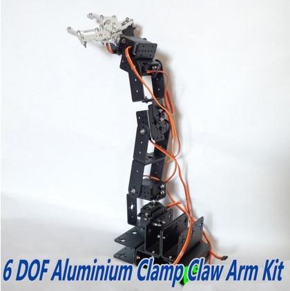 Aluminium Robot 6 DOF Arm Clamp Claw Mount Kit for Arduino Compatible arduino plotclock robot kit drawing program acrylic arm