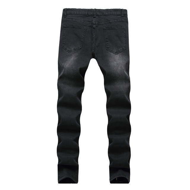 2018 Summer men ripped jeans fake zipper pleated slim fit business casual sloid distressed pencil pants male plus size trousers