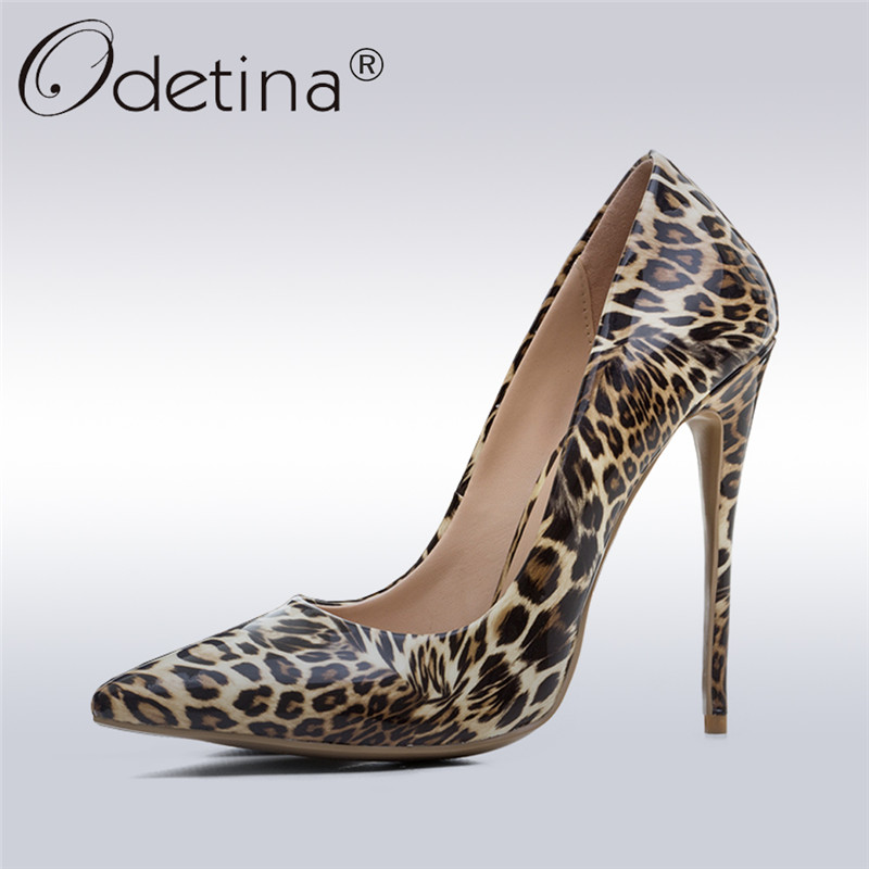 все цены на Odetina 2018 New Fashion Sexy Leopard High Heels Women Patent Leather Pumps Pointed Toe Stilettos Ladies Party Shoes Big Size 43 онлайн