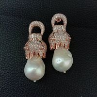 White keshi Pearl CZ Pave Rose Golden Plated Stud Earrings