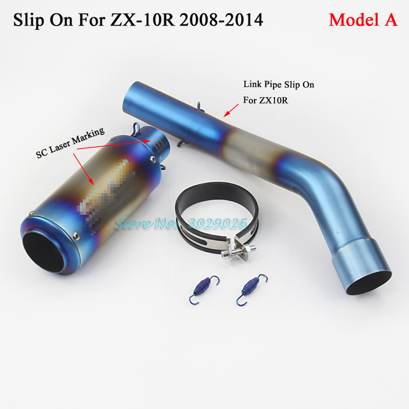 ZX10R Blue Exhaust Set Slip On For Kawasaki ZX-10R Motorcycle Exhaust Muffler with Middle Link Pipe Laser Marking 2008 - 2014 motorcycle exhaust muffler for sc exhaust pipe with laser marking for large displacement motorcycle with full accessories