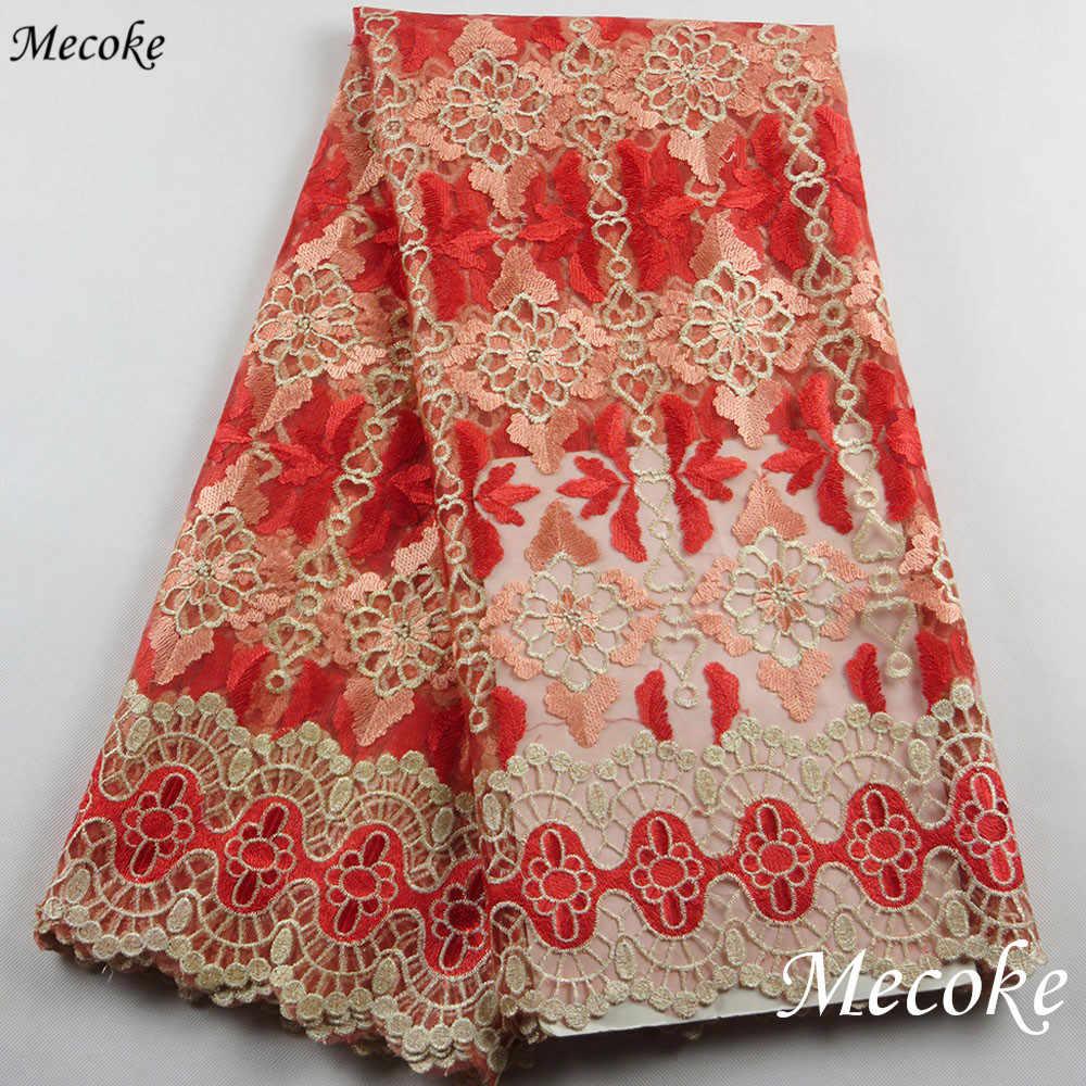 Nuovo Africano del merletto di filo ricamato Francese tessuto di pizzo verde Ladie Nigeria trasparente Del Ricamo della maglia tessuto di pizzo guipure