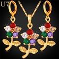 U7 Индийские Комплекты Ювелирных Изделий Позолоченный Цветок Розы Цирконом Серьги Ожерелья Для Женщин S692