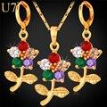 U7 cubic zirconia joyería india establece para las mujeres del oro plateó la flor de rose de cristal pendientes collar set mujeres s692
