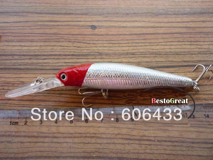 10 шт./лот рыболовная приманка с красной головкой Mimmow тройной крючок Спиннер приманки 14 см 15 г