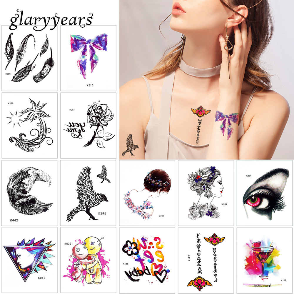 glaryyears 5 Pieces/set Watercolor Tattoo WST-K Sticker Beauty Women Tiny Decal Temporary Body Makeup Tattoo Paper Waterproof 3D