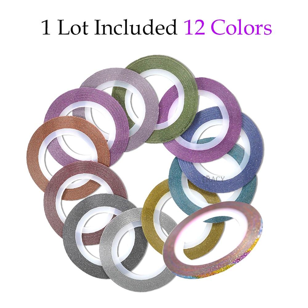 12 Farbe Mischen Laser 3D Nail art Striping klebeband linie ...