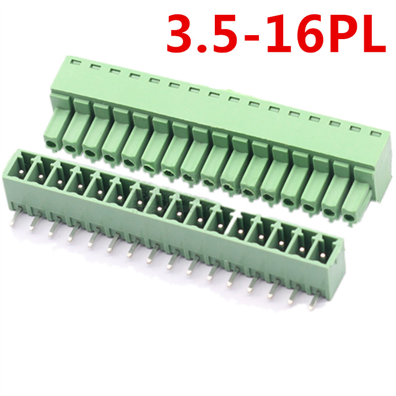 10sets 16Pin pcb Right Angle Bend 15EDG-3.5mm Pitch Universal Plug-in Screw Green Terminal Block Connector pin header and socket