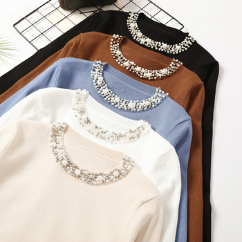 Autumn Winter Women Beaded Sweater 2019 O-Neck elegant sweater Jumper Top Loose Casual Warm Femme Sweater knitting bottom shirt 1