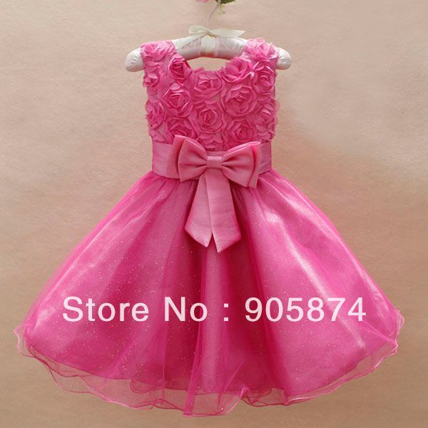 Fashion Kids formal Bow lace dress baby clothes Baby girls Wedding Bridesmaid Princess Dresses Christmas multicoloured - MixKelly Children Clothes Center store