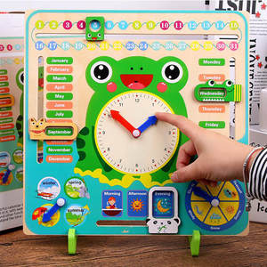 Clock Calendar Toys Cognitive Early-Learning-Toy Wooden Weather-Season Educational Month