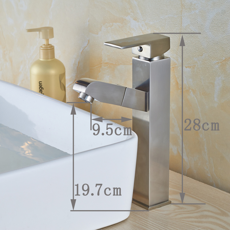 Contemporary Bathroom Sink Faucet Single Handle Pull Out Mixer Tap Deck Mounted Nickel Brushed