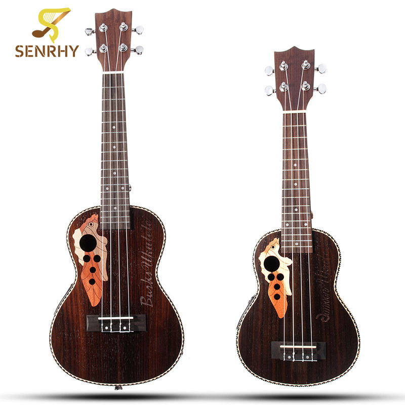 Senrhy 21'' 23'' Acoustic 4 Strings Ukulele Rosewood Concert Uke Electric Bass Guitarra Guitar for Musical Stringed Instruments zebra 23 26 4 strings mahogany concert ukulele uke rosewood fretboard guitarra guitar for musical stringed instruments lover