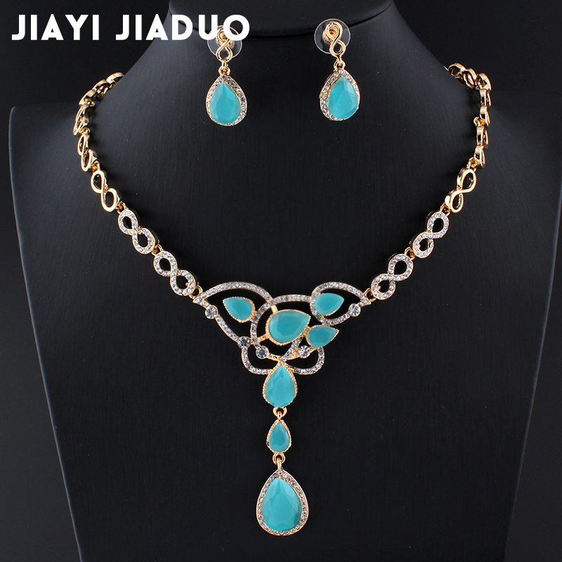 Ehrgeizig Jiayijiaduo Afrikanische Mode Elegante Frauen Sommer Kristall Schmuck Sets Schöne Gold-farbe Halskette Ohrringe Hochzeit Kleid 2019 Offiziell Brautschmuck Sets