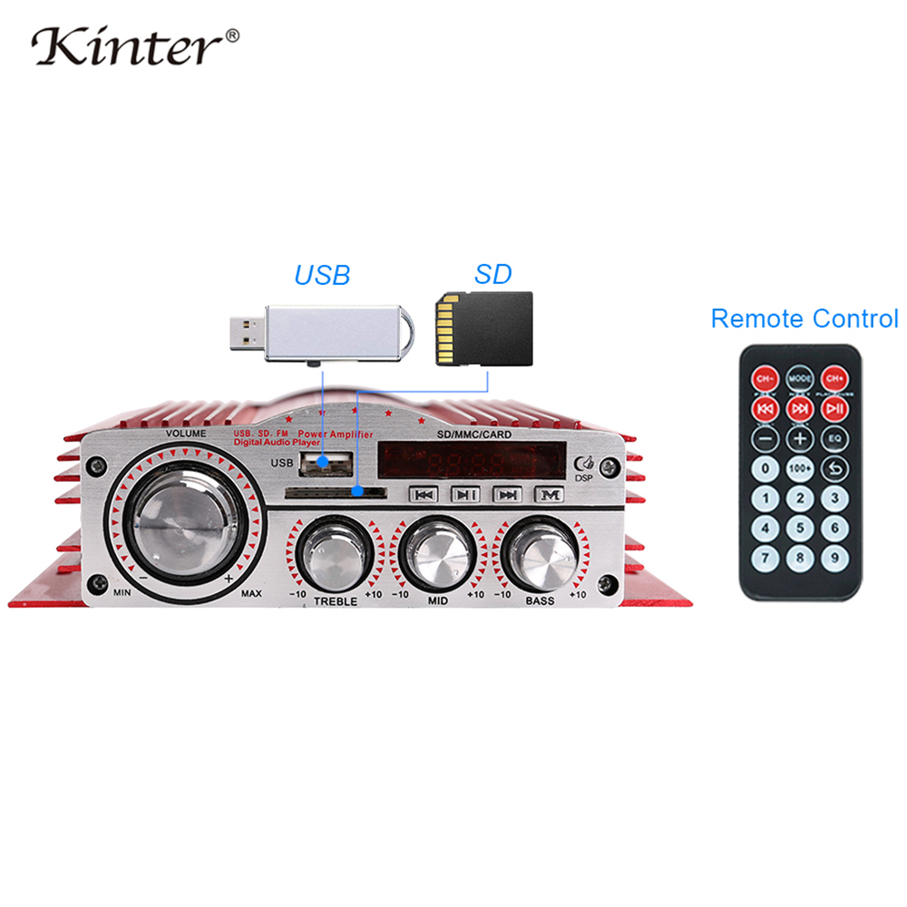 Kinter MA 900 мини аудио усилитель в доме 4 канала DC12V автомобильный стерео усилитель звука с USB SD CD, DVD, MP3 функция