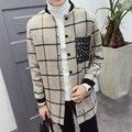 2016 Otoño y el Invierno Trench Coat Hombres Japón Lana Espesa la Capa Larga para Hombres Moda Plaid Collar de Béisbol Hombres Gabardina Larga caliente
