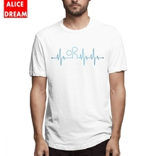 Ripple Heartbeat Tee Male Graphic Print Short Sleeve 100% Cotton Alicedream Homme T-shirt graphic print tee